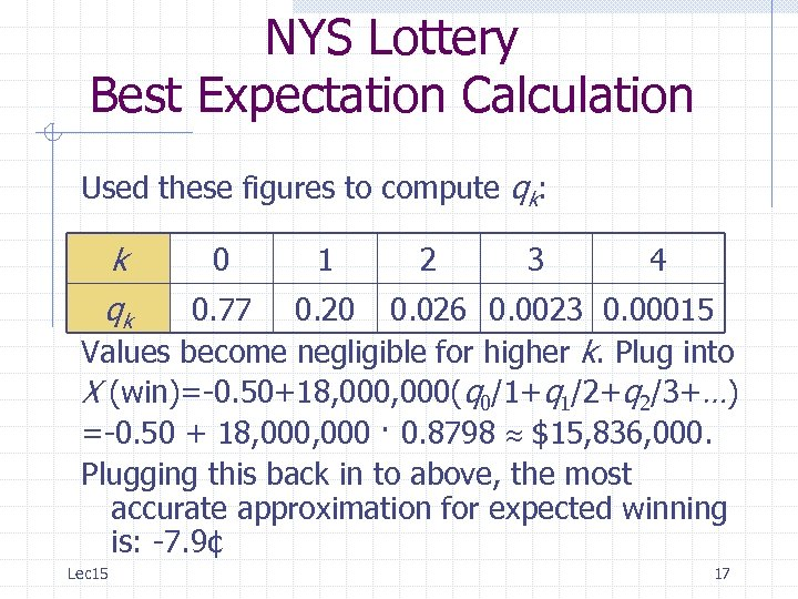 NYS Lottery Best Expectation Calculation Used these figures to compute qk: k 0 1