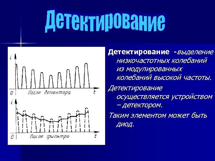 Детектирование -выделение низкочастотных колебаний из модулированных колебаний высокой частоты. Детектирование осуществляется устройством – детектором.