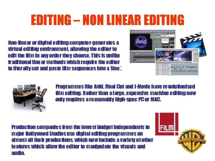 EDITING – NON LINEAR EDITING Non-linear or digital editing computer-generates a virtual editing environment,