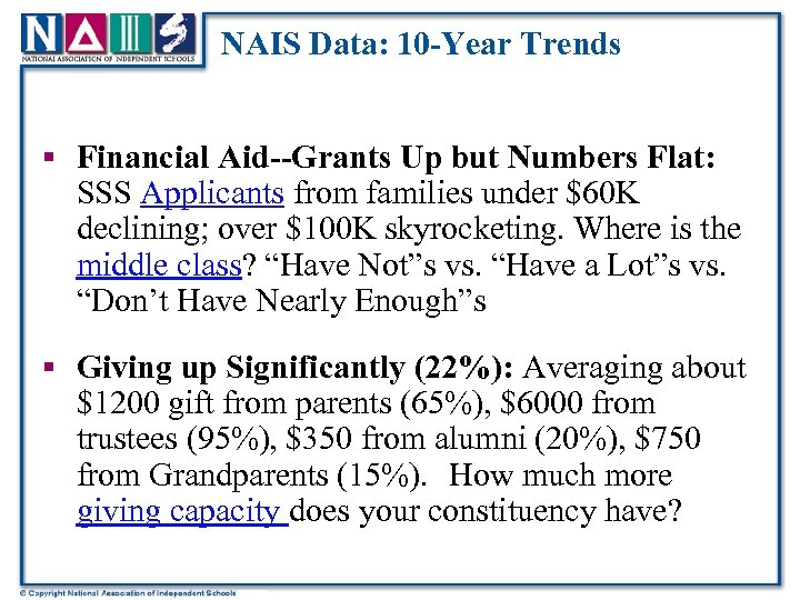 NAIS Data: 10 -Year Trends § Financial Aid--Grants Up but Numbers Flat: SSS Applicants