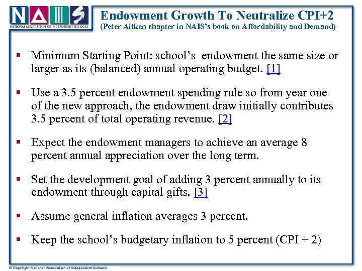 Endowment Growth To Neutralize CPI+2 (Peter Aitken chapter in NAIS's book on Affordability and