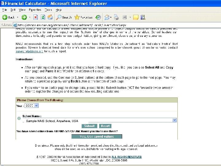 Stats. Online Dashboard Indicators & Calculator Sample NAIS School, Anywhere, USA