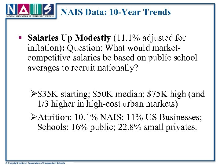 NAIS Data: 10 -Year Trends § Salaries Up Modestly (11. 1% adjusted for inflation):