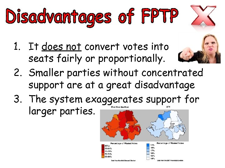 1. It does not convert votes into seats fairly or proportionally. 2. Smaller parties