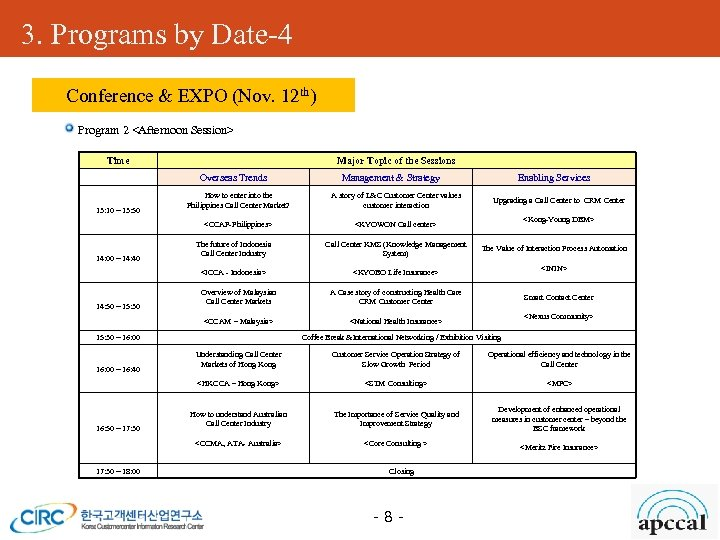 3. Programs by Date-4 Conference & EXPO (Nov. 12 th) Program 2 <Afternoon Session>