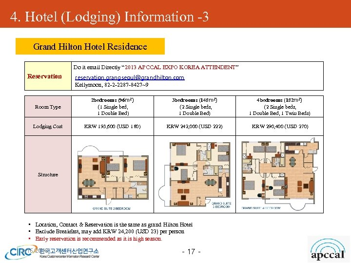 """4. Hotel (Lodging) Information -3 Grand Hilton Hotel Residence Do it email Directly """""""