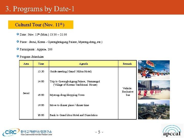 3. Programs by Date-1 Cultural Tour (Nov. 11 th) Date : Nov. 11 th