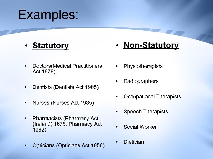 Examples: • Statutory • Non-Statutory • • Physiotherapists • Radiographers • Occupational Therapists •