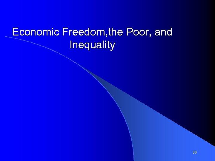 Economic Freedom, the Poor, and Inequality 30