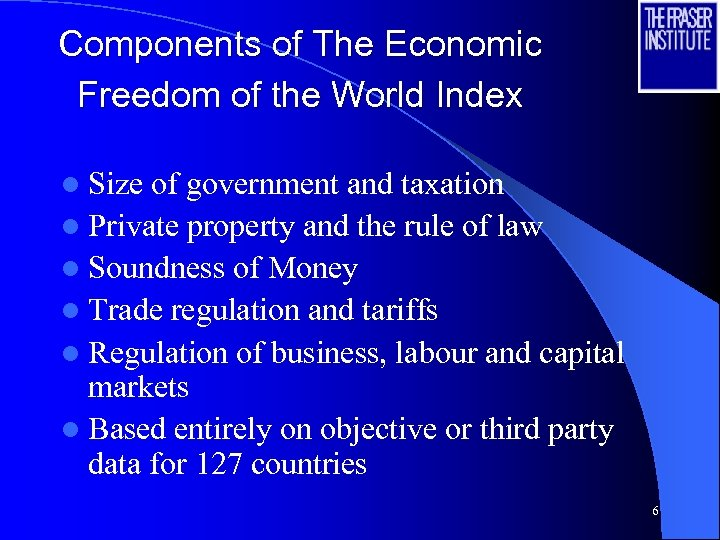 Components of The Economic Freedom of the World Index l Size of government and