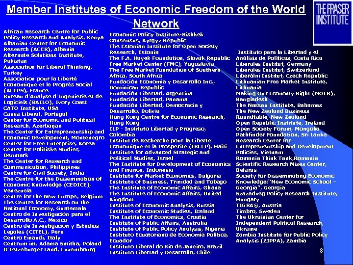 Member Institutes of Economic Freedom of the World Network African Research Centre for Public