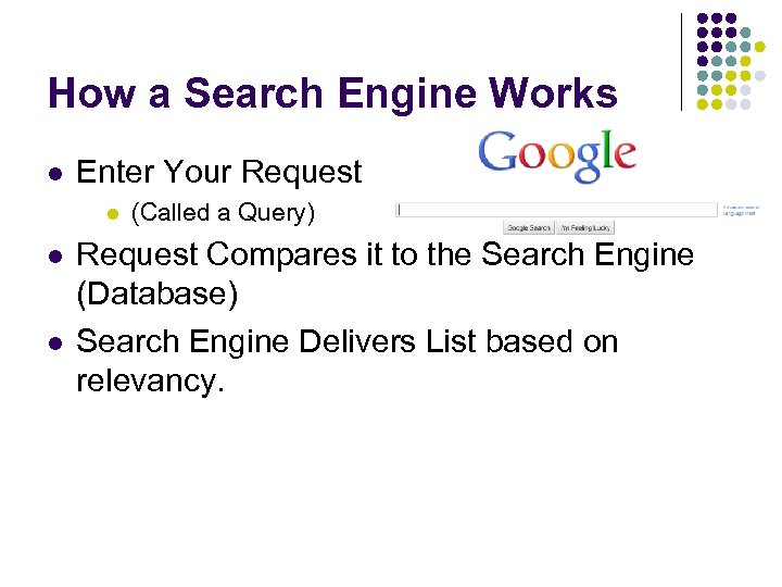 How a Search Engine Works l Enter Your Request l l l (Called a