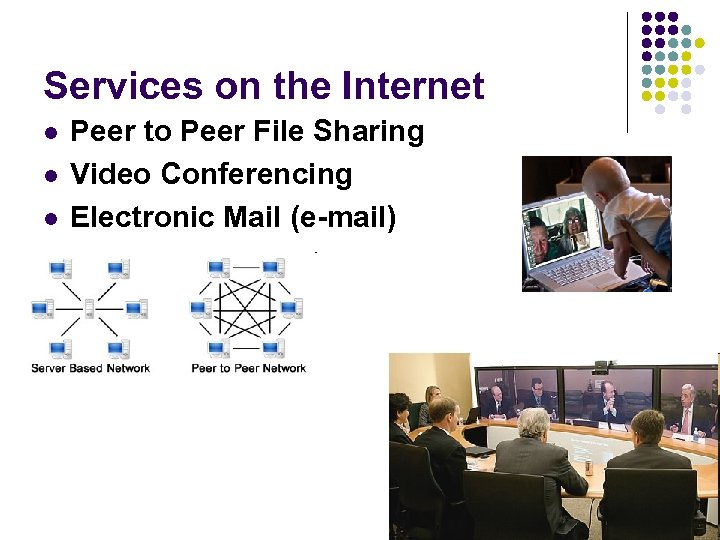 Services on the Internet l l l Peer to Peer File Sharing Video Conferencing