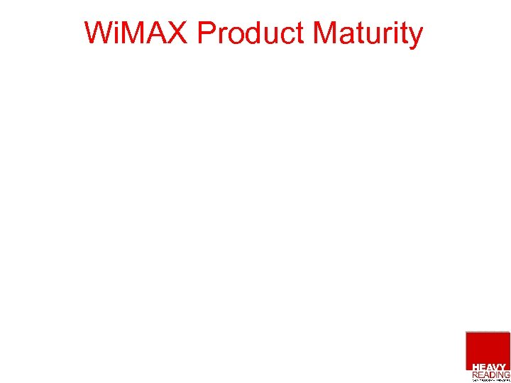 Wi. MAX Product Maturity