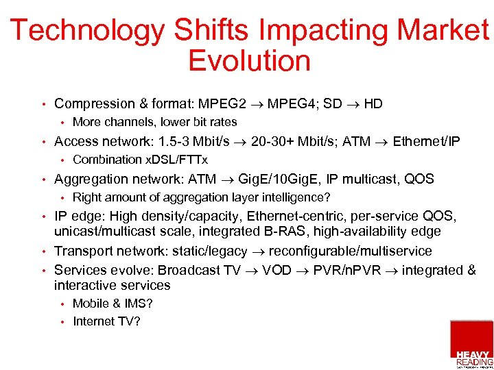 Technology Shifts Impacting Market Evolution • Compression & format: MPEG 2 MPEG 4; SD