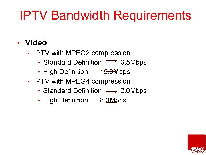 IPTV Bandwidth Requirements • Video IPTV with MPEG 2 compression • Standard Definition 3.