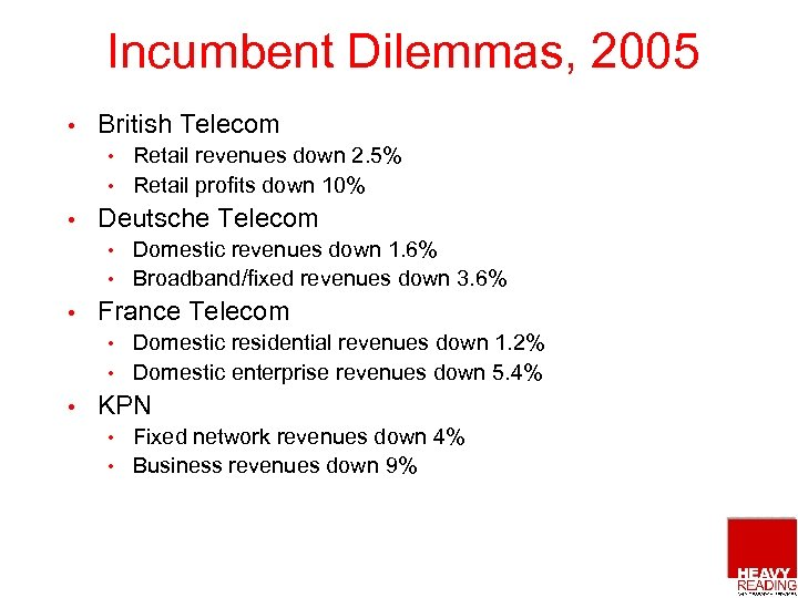 Incumbent Dilemmas, 2005 • British Telecom Retail revenues down 2. 5% • Retail profits