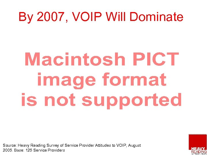 By 2007, VOIP Will Dominate Source: Heavy Reading Survey of Service Provider Attitudes to