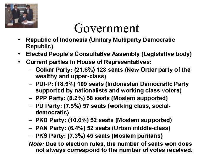 Government • Republic of Indonesia (Unitary Multiparty Democratic Republic) • Elected People's Consultative Assembly