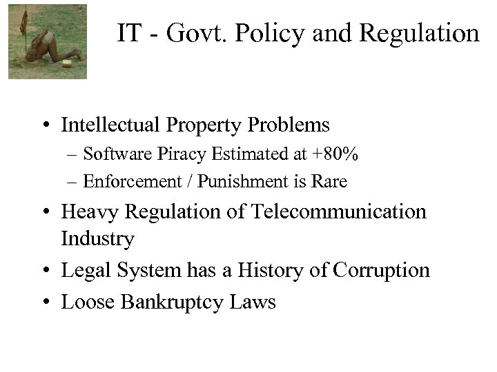 IT - Govt. Policy and Regulation • Intellectual Property Problems – Software Piracy Estimated