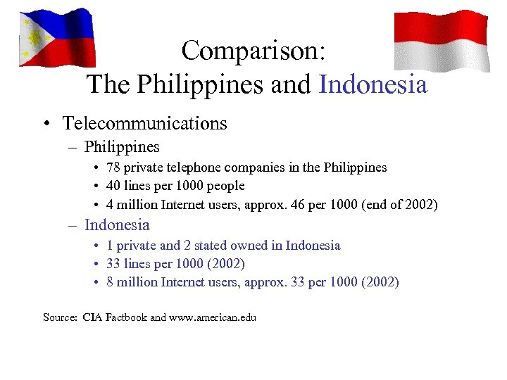 Comparison: The Philippines and Indonesia • Telecommunications – Philippines • 78 private telephone companies