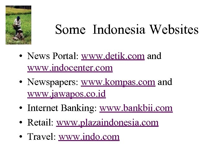 Some Indonesia Websites • News Portal: www. detik. com and www. indocenter. com •
