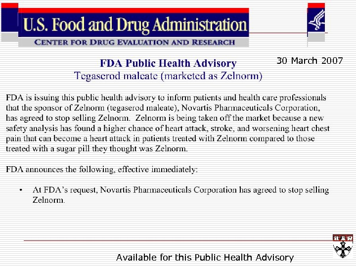 30 March 2007 Available for this Public Health Advisory