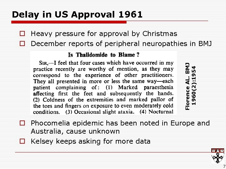 Delay in US Approval 1961 Florence AL. BMJ 1960(2): 1954 o Heavy pressure for