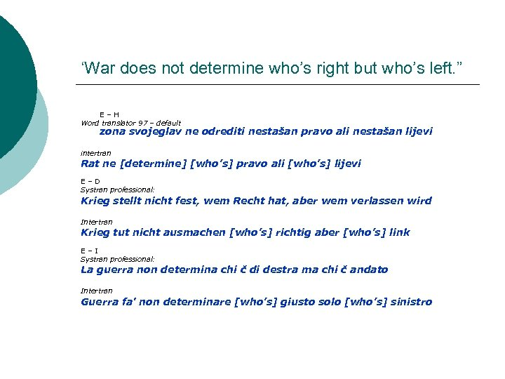 "'War does not determine who's right but who's left. "" E–H Word translator 97"