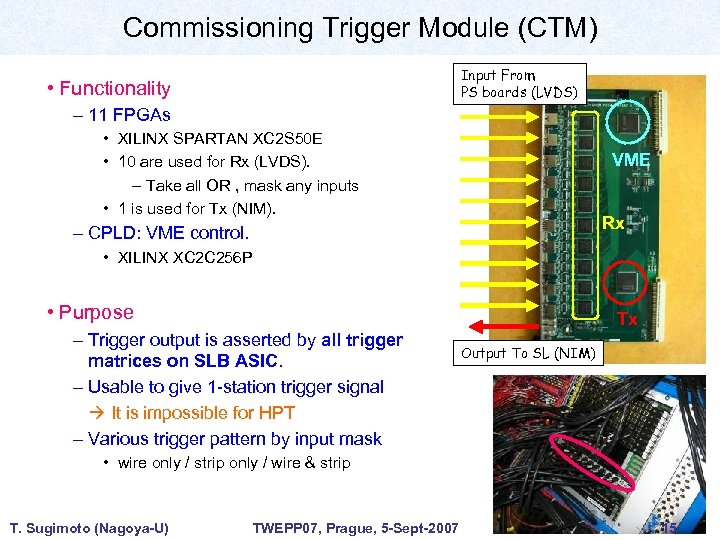 Commissioning Trigger Module (CTM) Input From PS boards (LVDS) • Functionality – 11 FPGAs