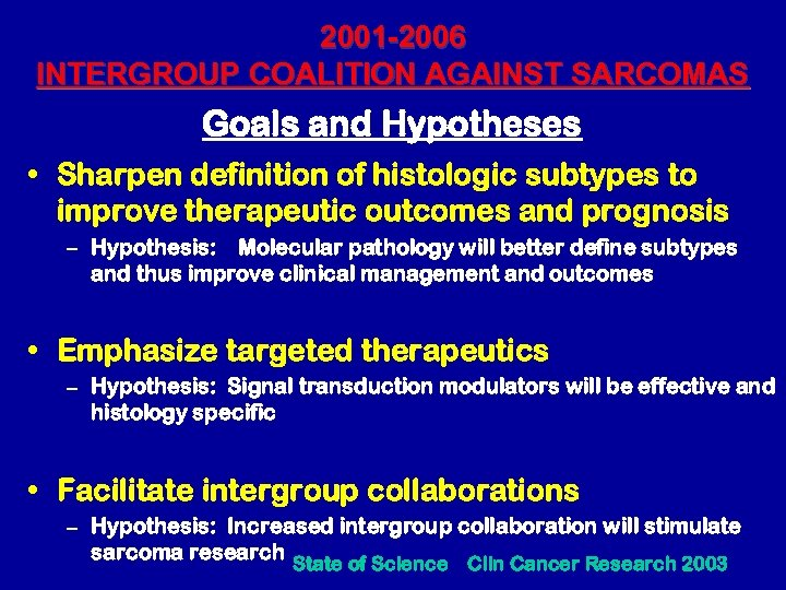 INTERGROUP COALITION AGAINST SARCOMAS ICAS A COMMITTEE FOCUSED