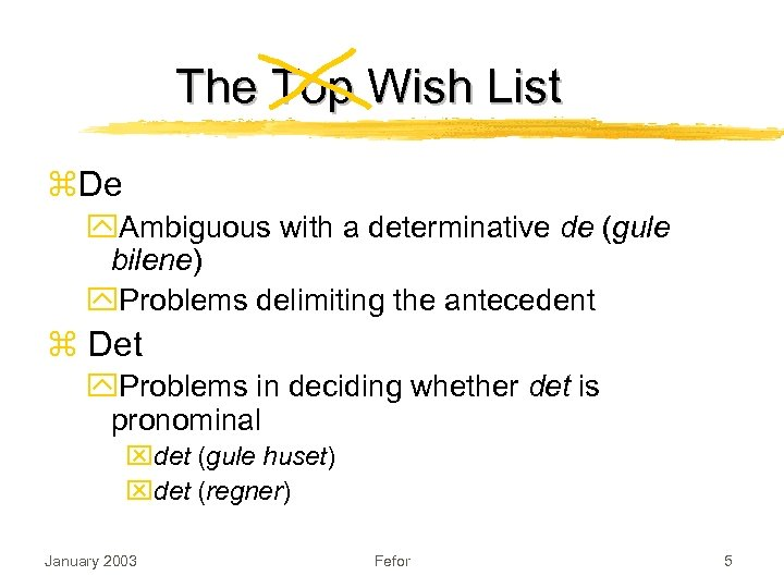 The Top Wish List z. De y. Ambiguous with a determinative de (gule bilene)