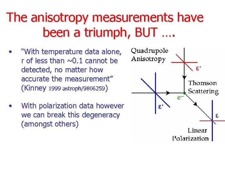 """The anisotropy measurements have been a triumph, BUT …. • """"With temperature data alone,"""