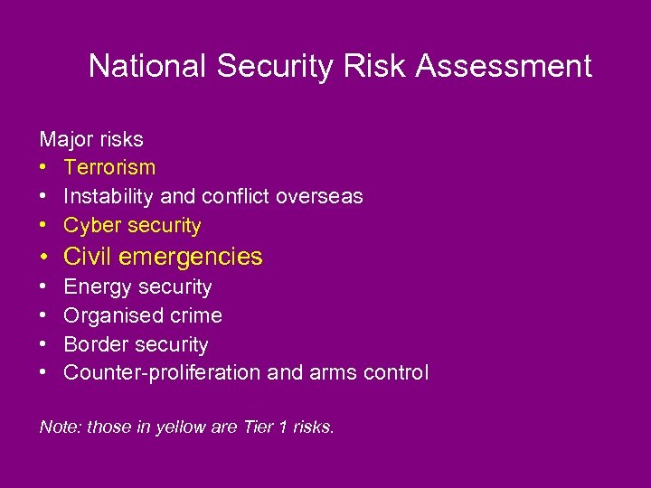 National Security Risk Assessment Major risks • Terrorism • Instability and conflict overseas •