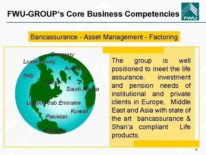 FWU-GROUP's Core Business Competencies Bancassurance - Asset Management - Factoring Germany Luxembourg Austria Italy