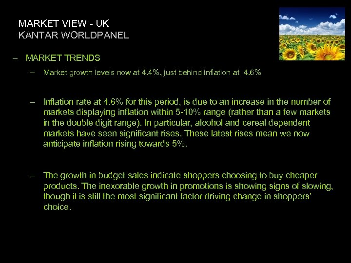 MARKET VIEW - UK KANTAR WORLDPANEL – MARKET TRENDS – Market growth levels now