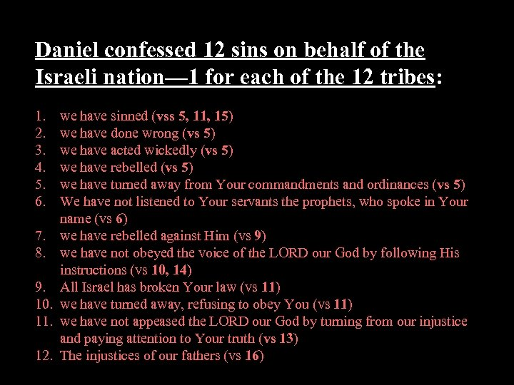 Daniel confessed 12 sins on behalf of the Israeli nation— 1 for each of