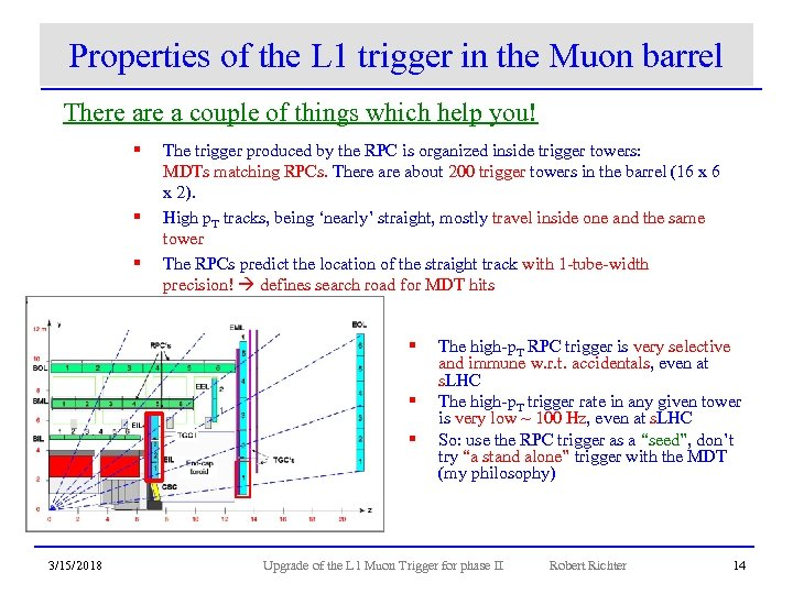 Properties of the L 1 trigger in the Muon barrel There a couple of