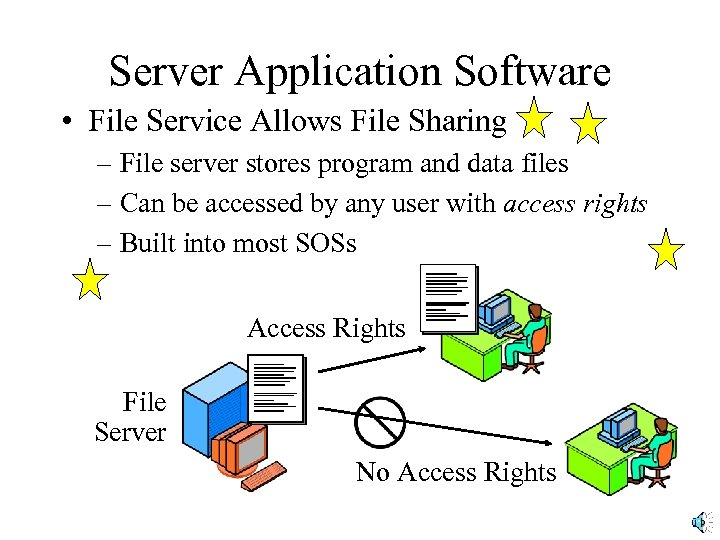 Server Application Software • File Service Allows File Sharing – File server stores program