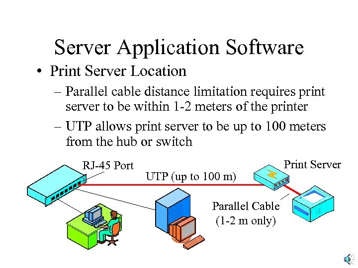 Server Application Software • Print Server Location – Parallel cable distance limitation requires print