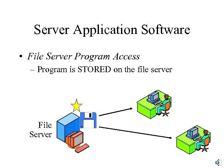 Server Application Software • File Server Program Access – Program is STORED on the
