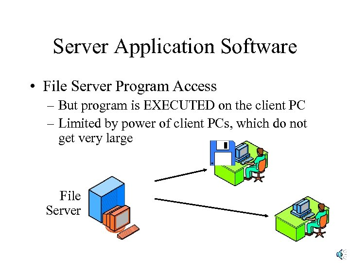 Server Application Software • File Server Program Access – But program is EXECUTED on