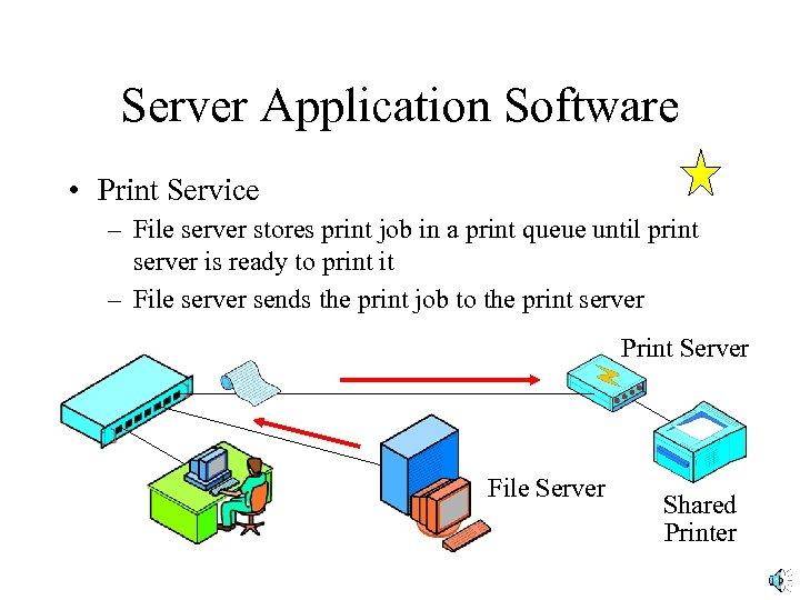 Server Application Software • Print Service – File server stores print job in a