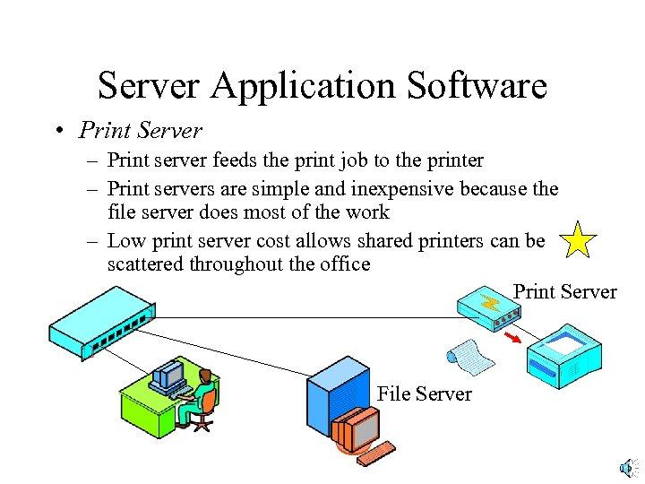 Server Application Software • Print Server – Print server feeds the print job to