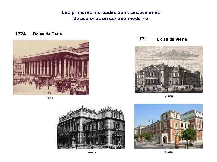 Los primeros mercados con transacciones de acciones en sentido moderno 1724 Bolsa de París