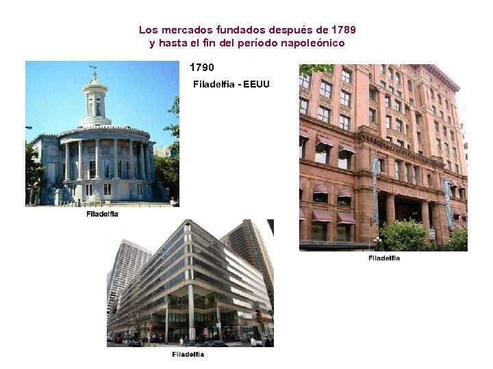 Los mercados fundados después de 1789 y hasta el fin del período napoleónico 1790