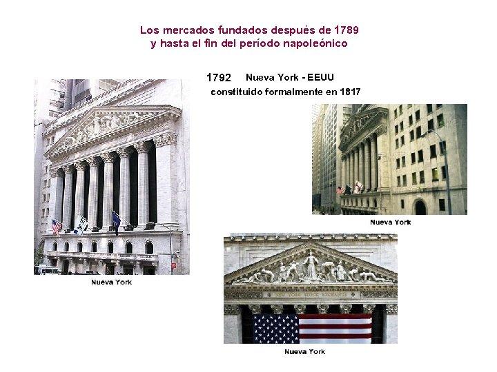 Los mercados fundados después de 1789 y hasta el fin del período napoleónico 1792