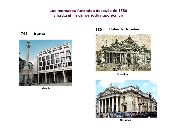 Los mercados fundados después de 1789 y hasta el fin del período napoleónico 1793