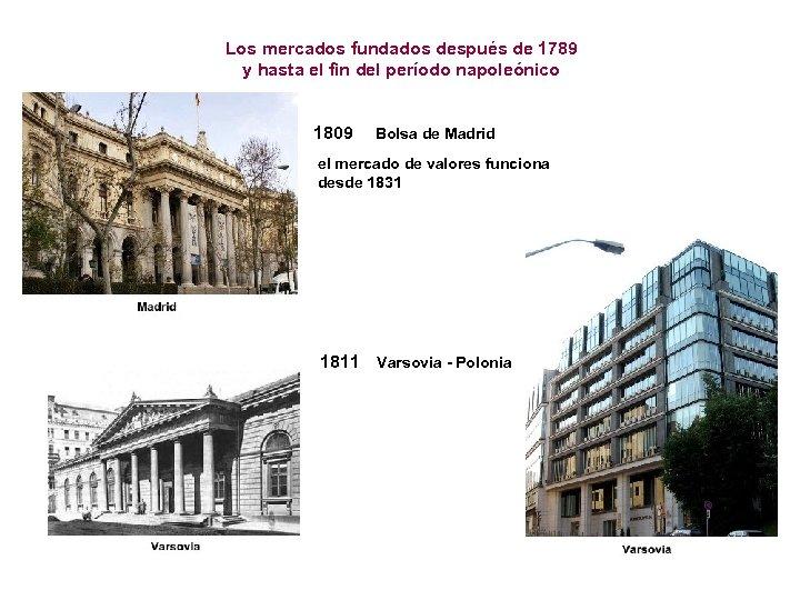 Los mercados fundados después de 1789 y hasta el fin del período napoleónico 1809