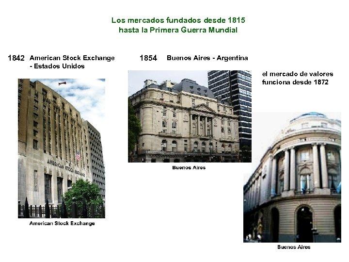 Los mercados fundados desde 1815 hasta la Primera Guerra Mundial 1842 American Stock Exchange
